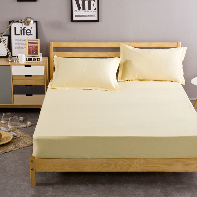 Yellow cream solid color 100% cotton bed mattress cover home ...