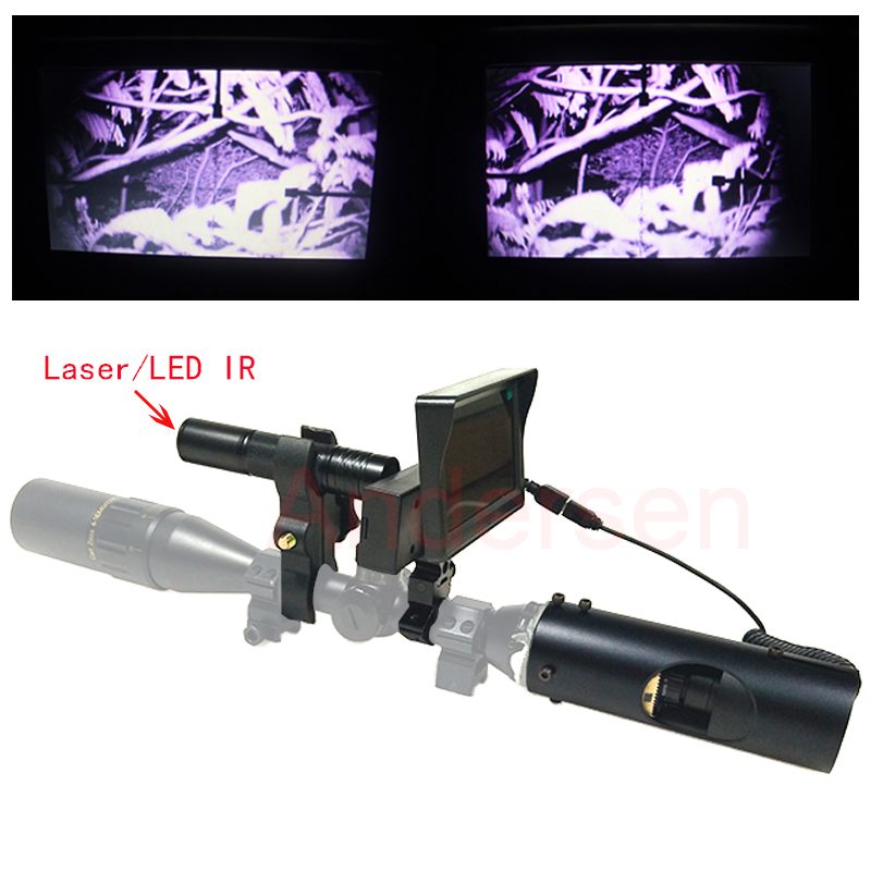 Hot Newest Hunting optics sight Scope Infrared night vision riflescope with Laser Infrared Flashlight and monitor optical instrument