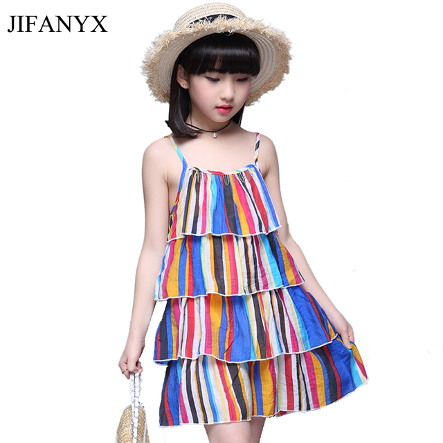 9ad56ff686 JIFANYX Summer Girls Rainbow Striped Dress Kids Sleeveless Colorful Beach  Dresses Rainbow Layered Sundress Children's Clothing