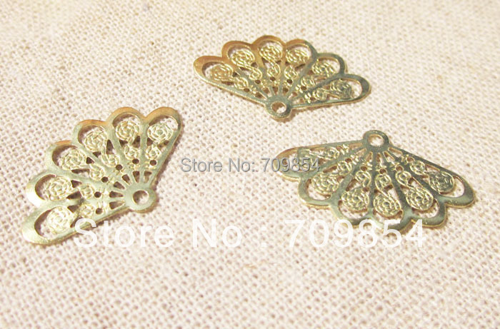 free shipping!!! 100pcslot brass 24*19mm fan filigree wrap connector jewelry findings