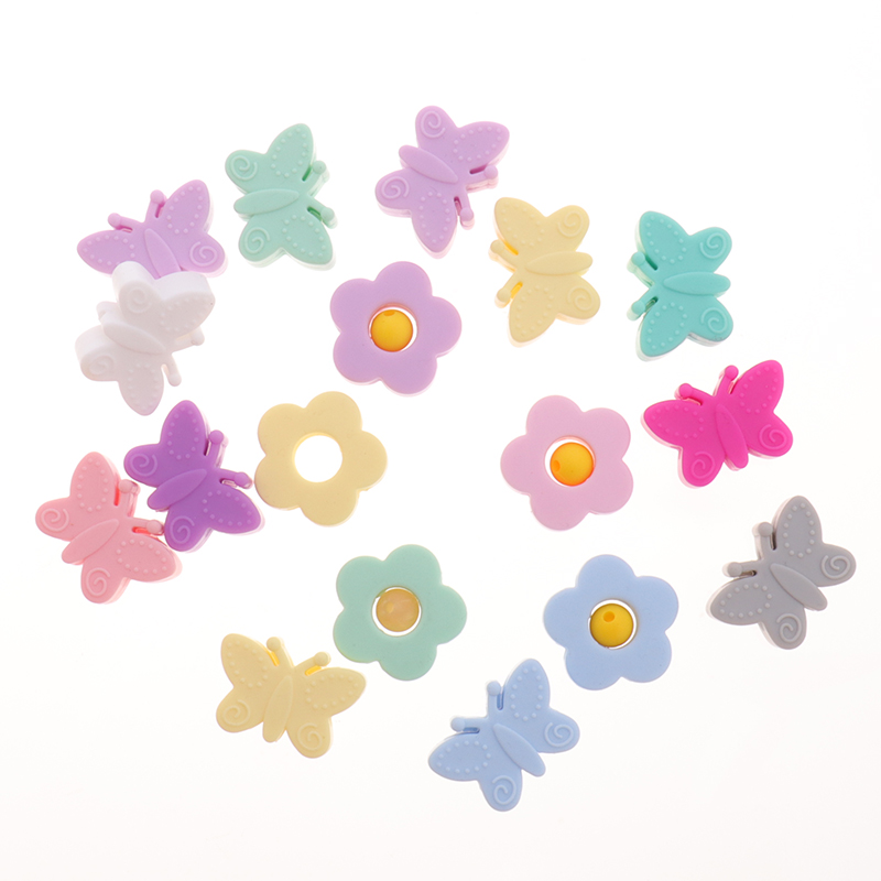 Silicone Beads Flower 10PC Baby Teething Bead Nursing Beads Butterfly  Bpa Free Teethers Silicone Baby Ring Diy Pacifier Adapter