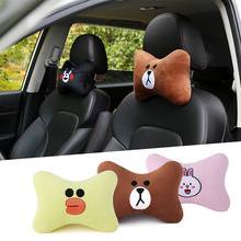 New 2pcs cartoon car headrest office neck rest support interior seat cushion auto parts styling