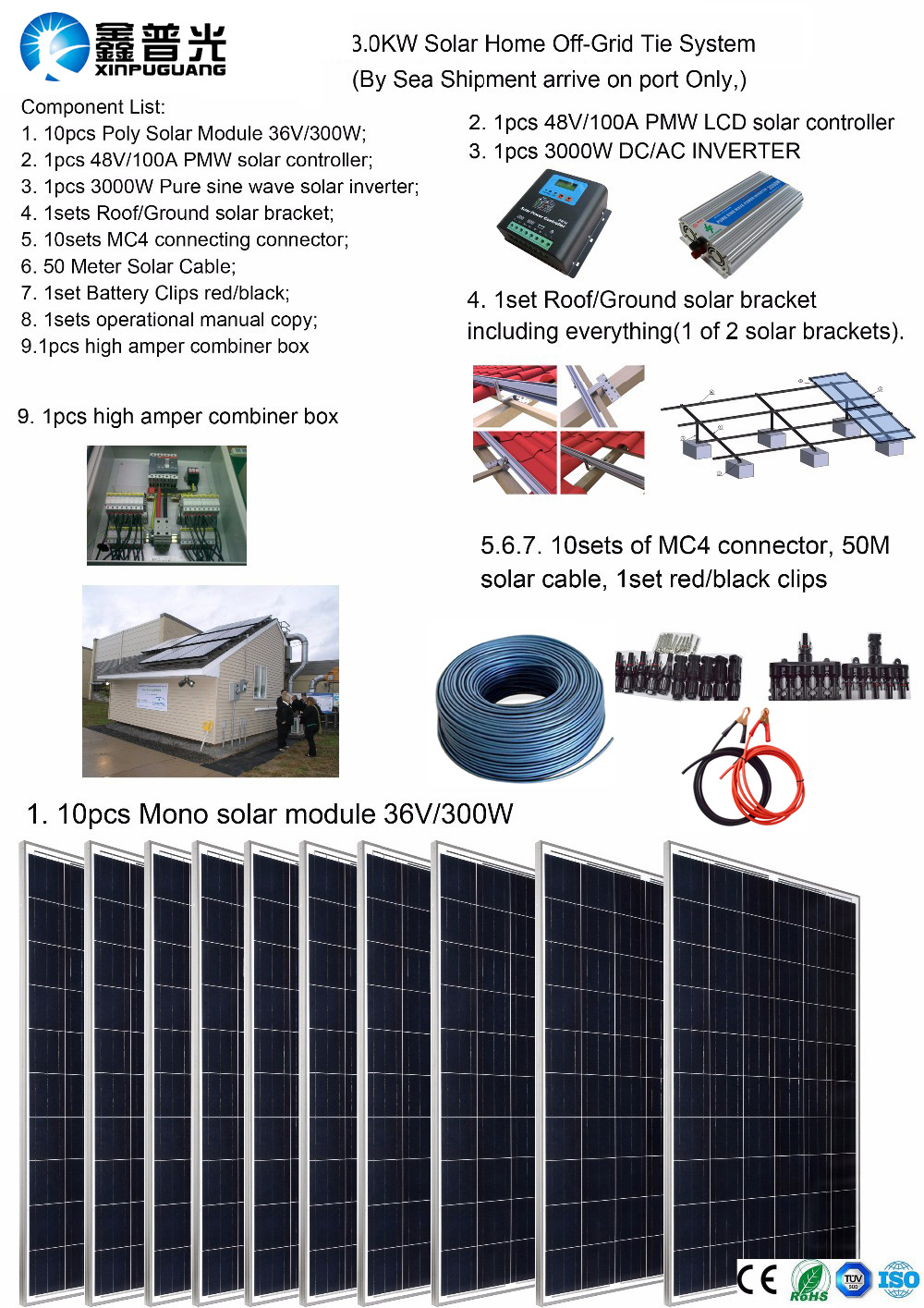 Solar panel 48v 110V 220V 3000W Solar Home off-grid tie systems solar kit by sea 300W Poly solar modules bracket controller DIY