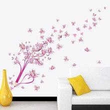 Pensil Merah Muda Bunga Kupu-kupu Stiker Dinding untuk Kamar Tidur Living  Room Latar Belakang Dekorasi Stiker Mural Seni Stiker . a934295698