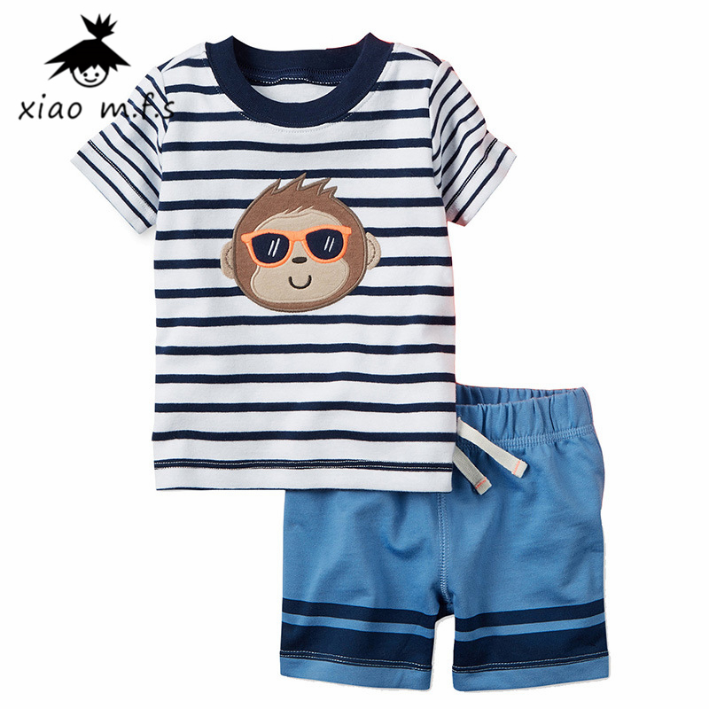 Baby Boy Clothes Summer Newborn Cotton Set Clothing Suit (Striped T Shirt+Pants) Cartoon Monkey Infant bebe Clothes MFS-4032