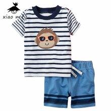 Child Boy Garments Summer season New child Cotton Set Clothes Go well with (Striped T Shirt+Pants) Cartoon Monkey Toddler bebe Garments MFS-4032