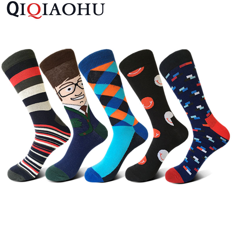 5 pairs/lot personalised stockings combed colorful men socks cool casual dress funny party dress long socks happy socks