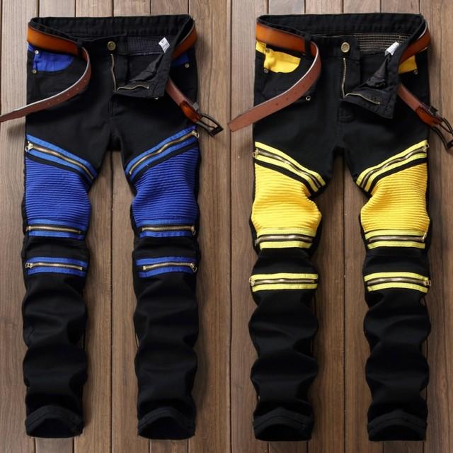 Balmain jeans Hombres Balmain Jeans hombres diseñador negro apenado Jean motocicleta  petirrojos Jeans Homme Joggers Slim Fit Skinny