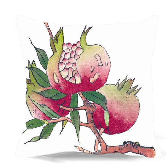pomegranate flowers chinese watercolor painting of square cotton