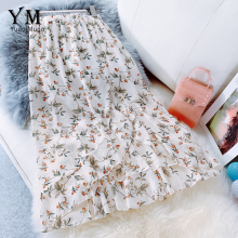 YuooMuoo летняя шифоновая юбка с цветочным рисунком и рюшами, Женская Корейская Асимметричная миди-юбка с высокой талией, элегантная женская юбка-Русалка