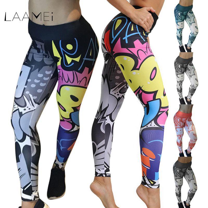 Laamei Women Leggings Cartoon Printed Leggins High Stretch Girls Legging Punk Rock Legging Fashion Pants Evening Clubwear 2019 Лосины
