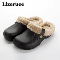 Winter Warm   Slippers   Men Indoor Shoes Cotton Pantoffels Casual Crocus Clogs With Fur Fleece Lining House Floor   Slippers   KS307