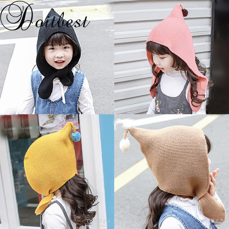 Doitbest 2-7 Years kid boy   Beanies   girl Demon cap   Beanie   Winter Child knitted hat knit elf kids girls Earflap Caps