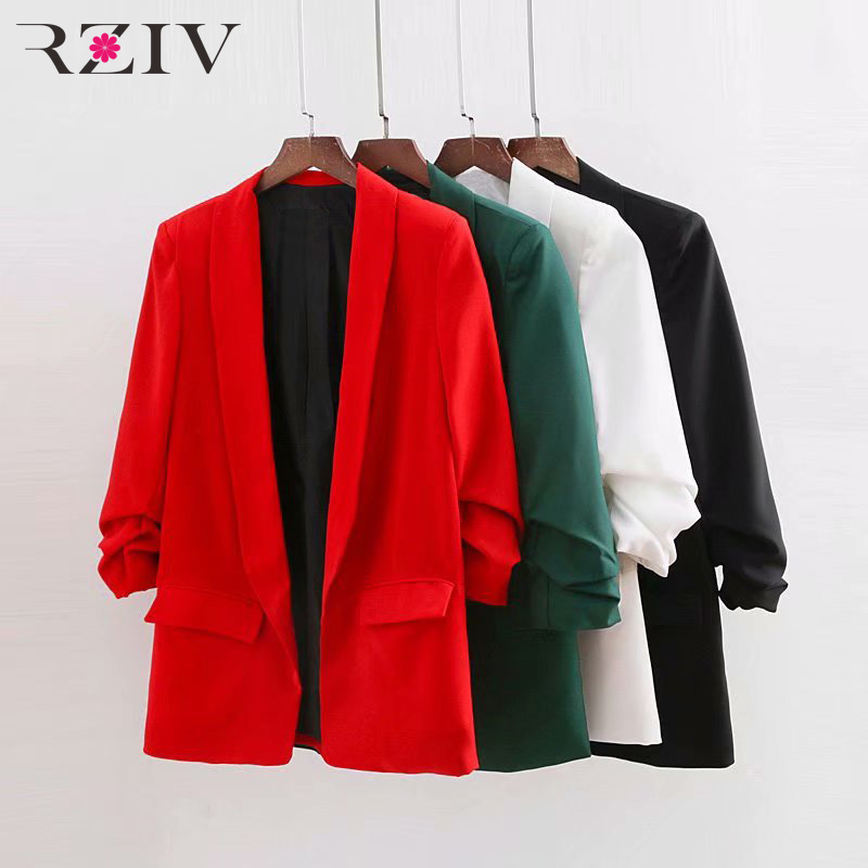 RZIV 2018 autumn female casual solid color suit pocket decorative pleated sleeves suit ...