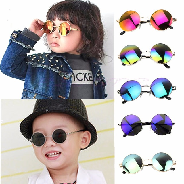 4f4b028224ca3 Fashion Children Sunglasses Round glass Baby Boys Girls UV Protection Goggles  Eyewear Sunglasses Kids Trendy Cool Sunglasses