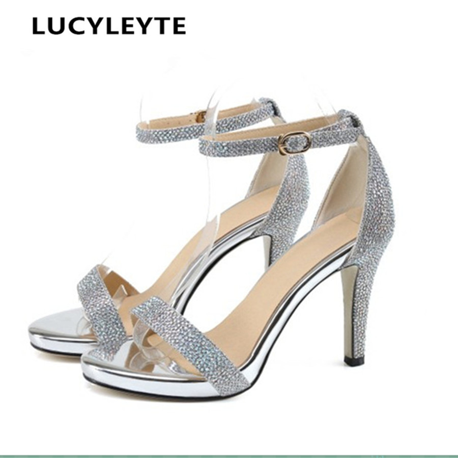 Europe and the United States style embossed leather with a word buckle women's sandals rubber high-heeled shoes with high-heeled