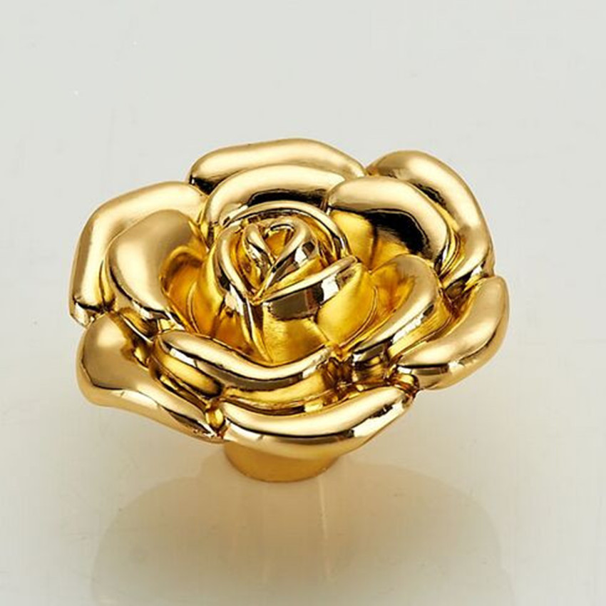 Fashion Modern Creative Gold Rose Furniture Knobs Gold Drawer Tv Table  Knobs Pulls Silver Kitchen Cabinet