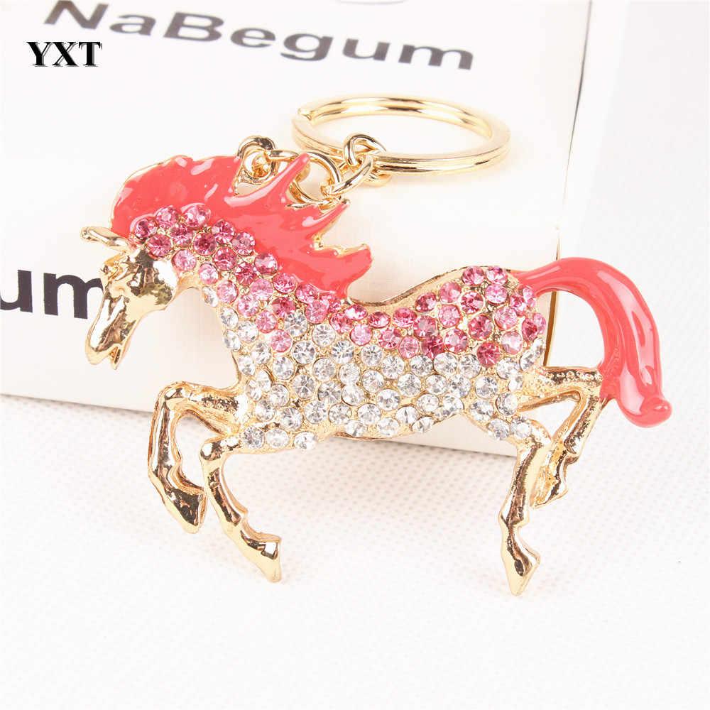 Прекрасный розовый конь бегать галопом Кристалл Стразы Шарм кошелек сумочка автомобильный брелок для ключей на день рождения лучший друг подарок