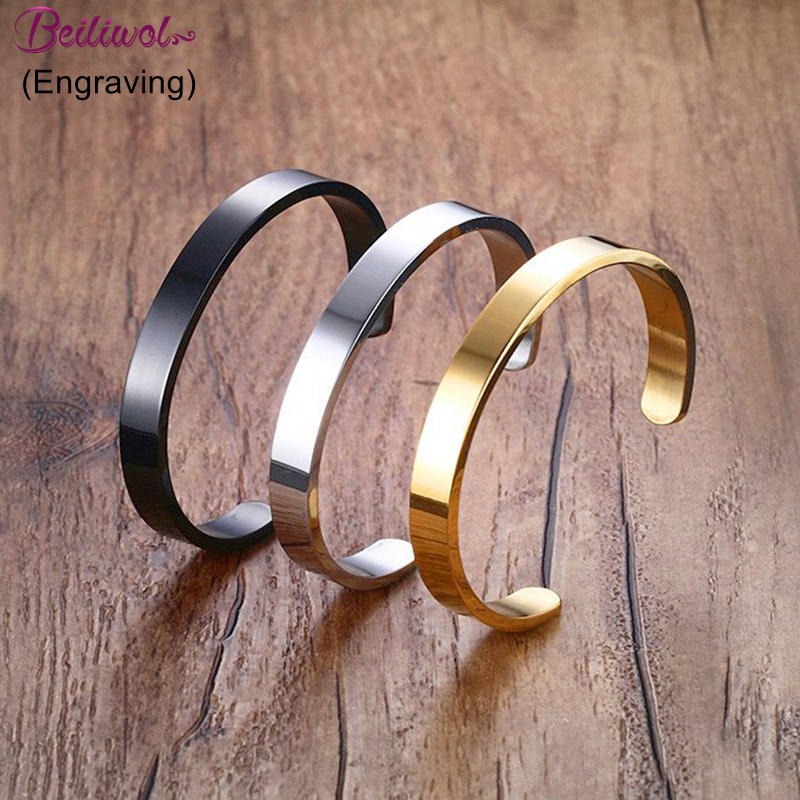 Beiliwol Bangle for Women 316L Stainless Steel Fine Jewelry C Shape Black Cuff Silver Color Open Couple Bracelet Father Gift Hot