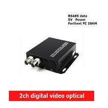 2CH digital Video Optical converter fiber optic video optical transmitter and receiver multiplexer 1CH +485 Data FC 20KM