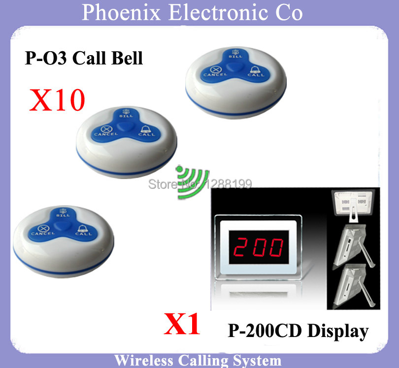 Wireless Calling System Call Guest Paging For Restaurant,1pcs Display P-200CD and 10pcs O3 the button of the waiter 1 watch receiver 8 call button 433mhz wireless calling paging system guest service pager restaurant equipments f3258