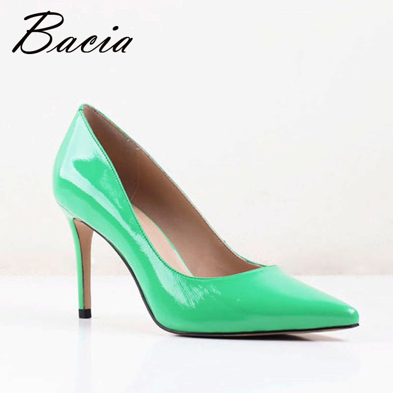 ФОТО Bacia New Sheepskin high heels 8.2cm Thin heel Spring Summer Fashion Pumps Pointed Genuine Leather Shoes Large Size 33-41 SA020