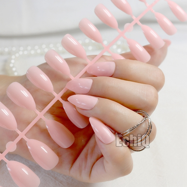 Stiletto Fake Nails Nude Pink Pointed Artificial Nails Easily ...