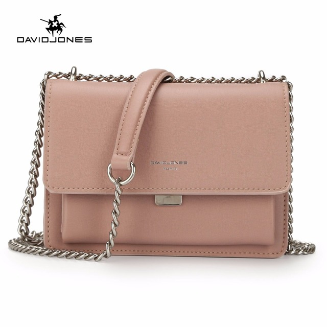 DAVIDJONES women messenger bags pu leather female shoulder bags mini lady  chain crossbody bag girl brand handbag drop shipping 848a1ae2f957d