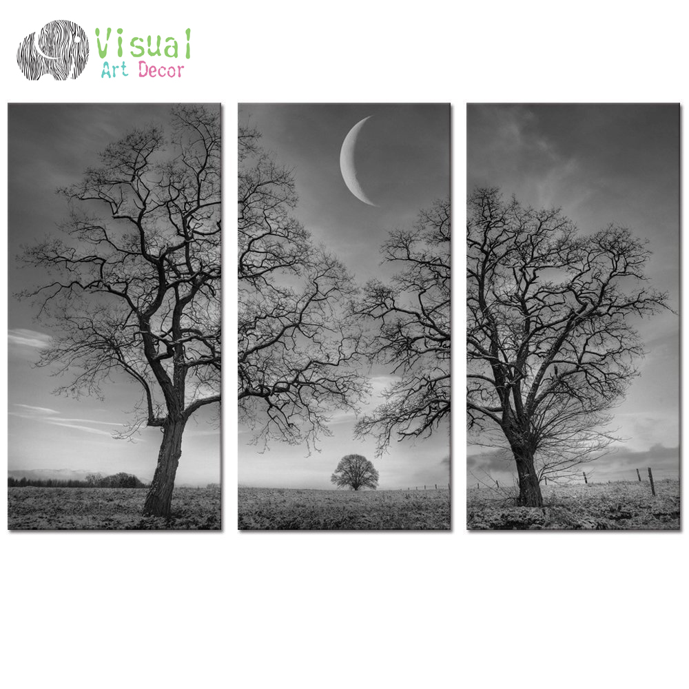 Black and white moon canvas wall art decor winter tree for Black and white tree mural