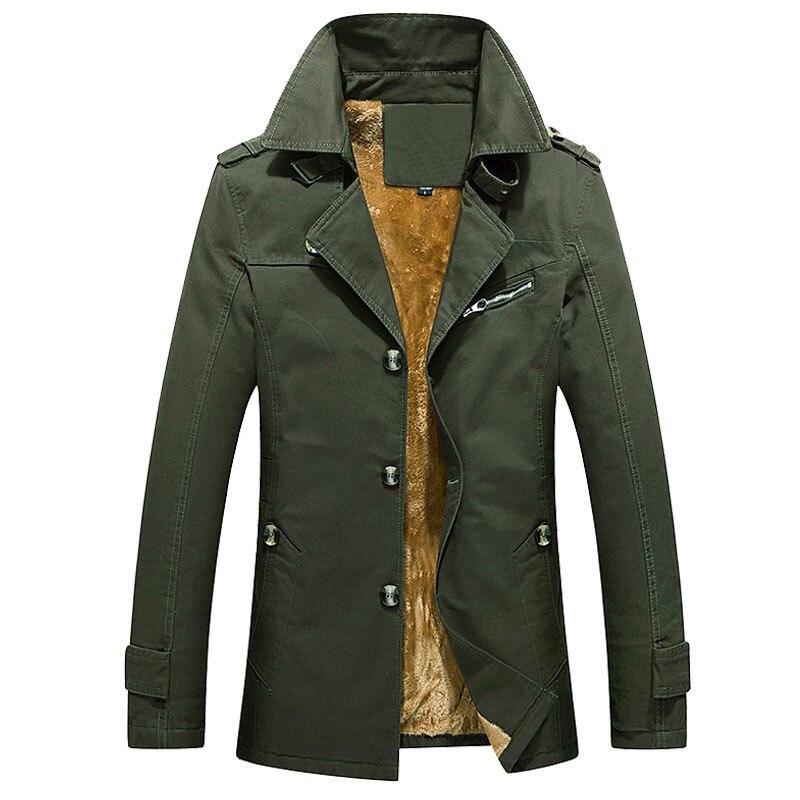 drop shipping Men's Winter Fleece Trench Coat Thicken Silm Long Trench Coats Men Overcoat Pull Homme AXP238
