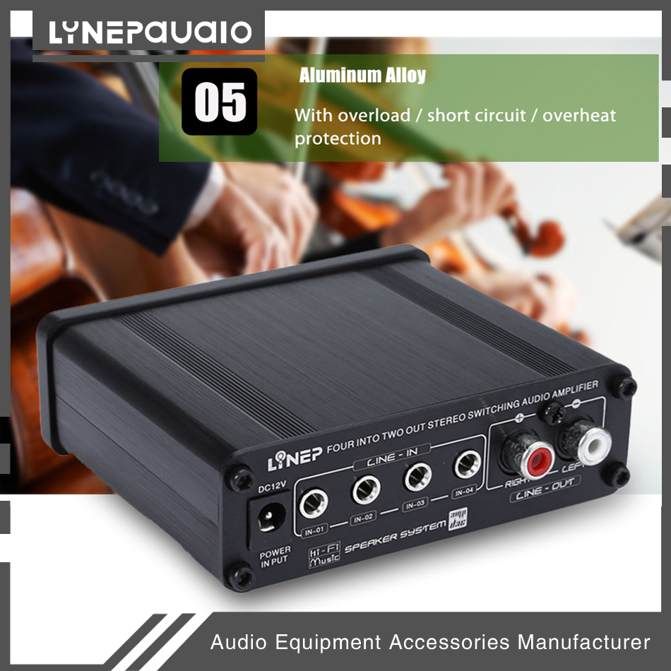 Купить с кэшбэком Four-In Two-Out Audio Stereo Switching Audio Amplifier Sound Processor Pre-amp