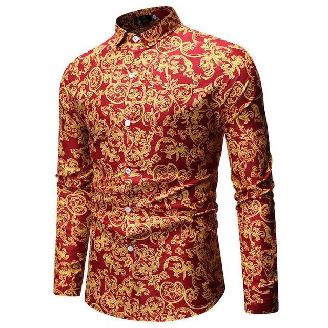 New Arrival Aulic Men Dress Shirt Long Sleeve Floral Print Man Shirts Noble Chemise Homme Manche Longue Elegant Camisas