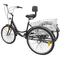 (Shipping From DE ) Black 6 speed 24 3 wheel adult Bike Tricycle Cruiser Bike