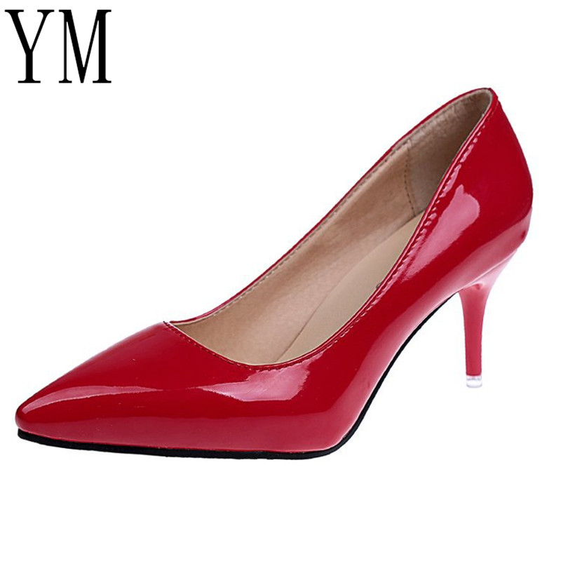 2018 Sexy Women Shoes Red Pointed Toe Pumps Patent Leather Dress Shoes High Heels Boat Shoes Wedding Shoes Zapatos Mujer 8cm