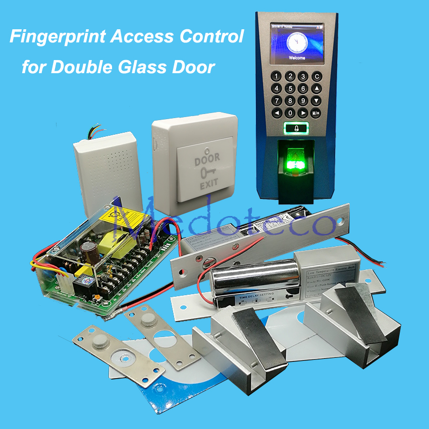 Full F18 Fingerprint Access Control System Kit Double Glass Door Access Control Set+Power Supply+Eletric Bolt Lock double sided turnstile for access control system catracas tourniquetes