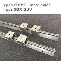 Kostenloser versand 2 stücke SBR12 12mm schiene länge 300mm zu 500mm linearführung mit 4 stücke SBR12UU set cnc router teil linear schiene|Linearführungen|Heimwerkerbedarf -