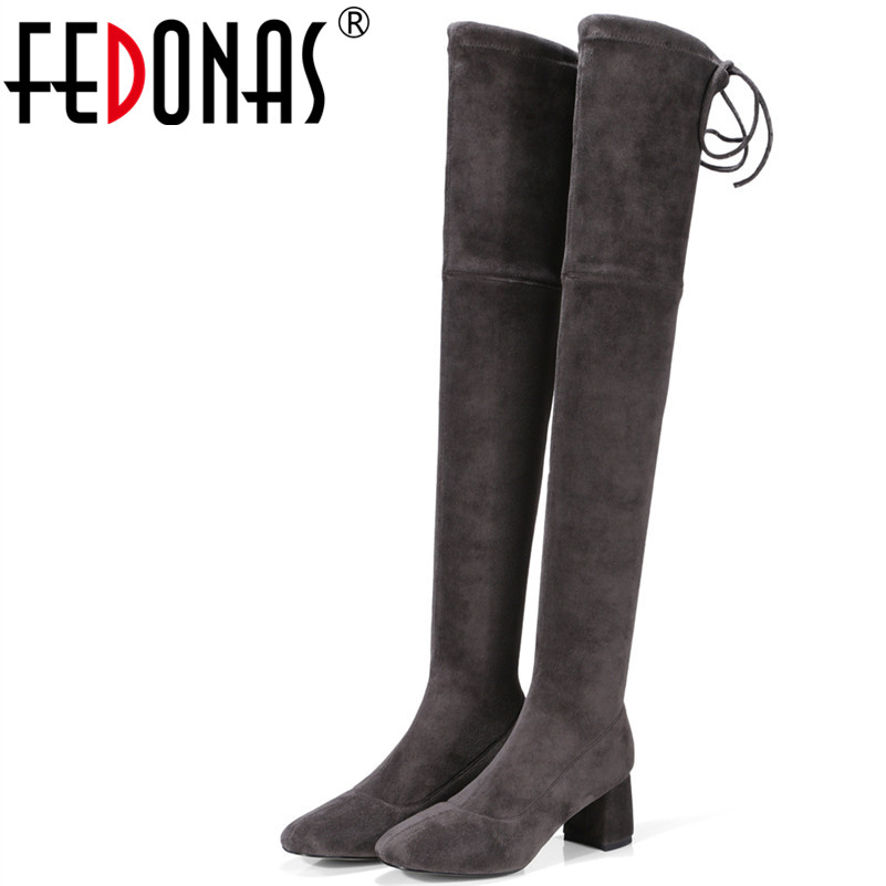 FEDONAS New Women Over The Knee Boots Round Toe Autumn Winter Warm High Heels Shoes Sexy Night Club Dancing High Boots 20cm pole dancing sexy ultra high knee high boots with pure color sexy dancer high heeled lap dancing shoes