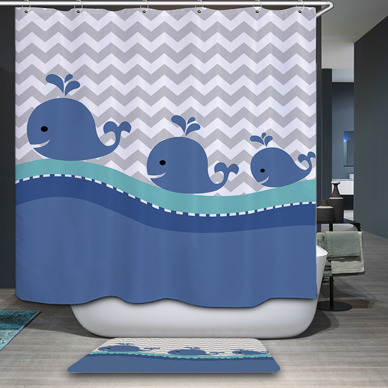 Mermaid Shower Curtain Bathroom Decoration Home Decorations Of The Seabed Fish Mermaid Whale Cute Cartoon
