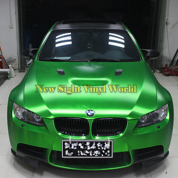 High Quality Matte Chrome Brushed Green Vinyl Folie Bubble Free For Car Wrapping Size:1.52*20M/Roll image