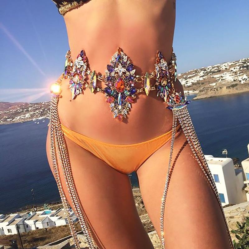 8 Colors! Luxury Sexy Crystal Bodychain Summer Beach Sexy Bikini Body Jewelry For Women Long Rhinestone Pendant Necklace JURAN