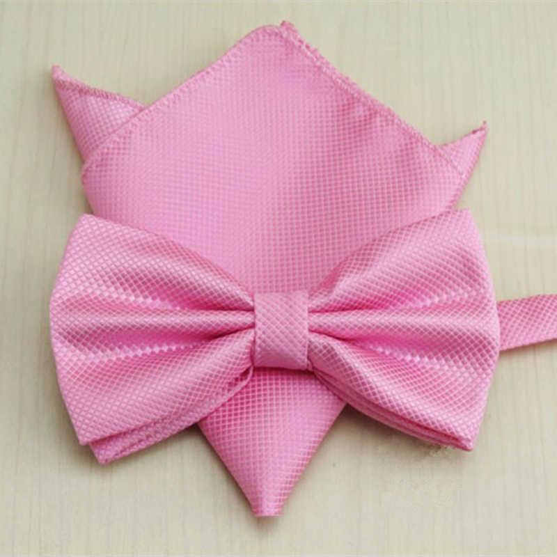 20 warna Solid klasik Bowtie set, Pria gaun pengantin kupu-kupu dasi bowtie, Saputangan persegi sesuai Bowtie Set