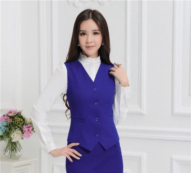 Novidade Azul Formal Uniforme Estilo Business Professional Women Casaco  Colete Feminino de Forma Magro Desgaste do 1b44cf8331a77