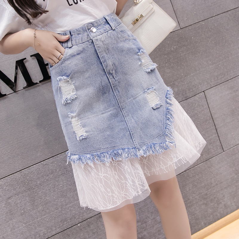 S-5XL Women Spring Summer Large Size Denim Skirt New Stitching Lace Bag Hip High Waist A Word Skirt Female Casual Denim Skirt