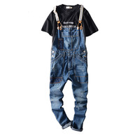 2017 New Arrival Stretched Mens Slim Straight Denim Overalls Distressed Jeans Ripped Jumpsuit Male Suspenders Bibs