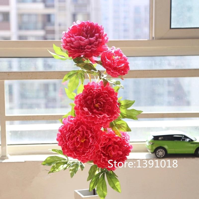 large silk flower 5 head peony flower bouquet artificial flowers fake flower home artificial u0026 dried flowers from home u0026 garden on