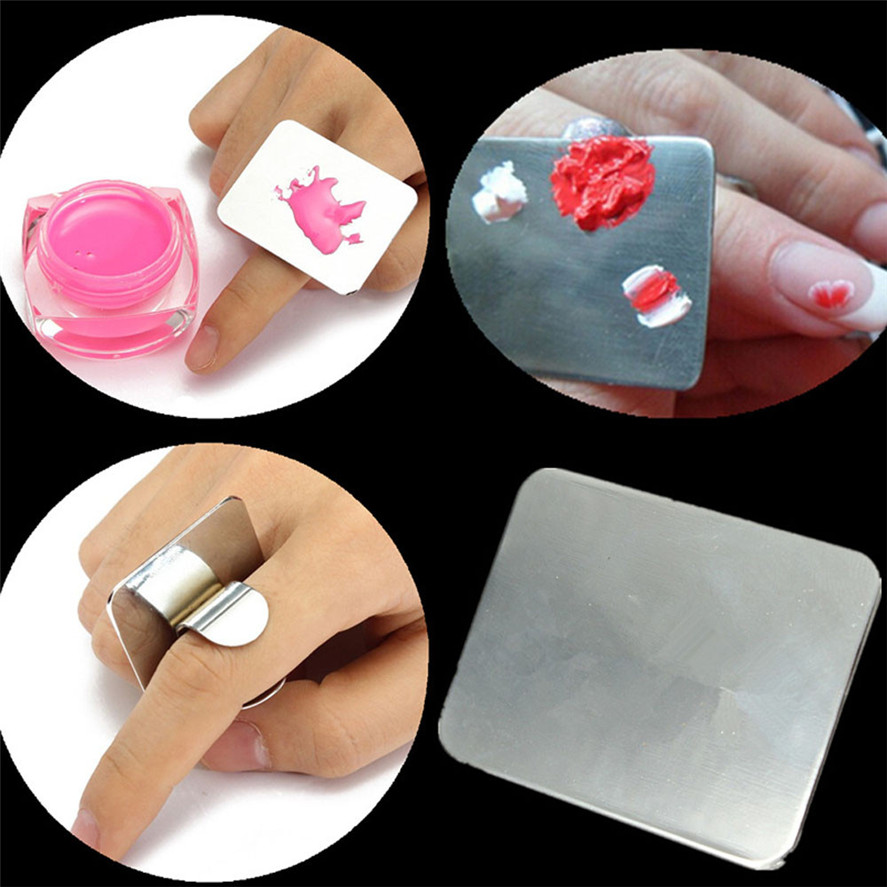 Kanbuder 1pc Nail Art Palette Cosmetic Mixing Palette Set Ring Manicure Nail Tool For Blending Paint Shades Concealers Lipstick