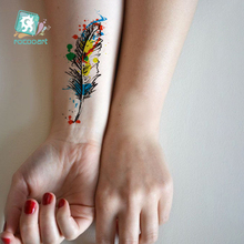 Waterproof Temporary Tattoo Sticker Colorful feather body art  Water Transfer fake flash tattoo for sexy Women girl fake tattoos 6pcs waterproof temporary tattoo sticker body art birds wing tattoo finger water transfer flash tattoo fake tattoo for girl boy