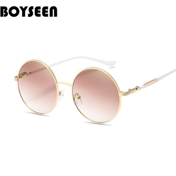BOYSEEN Vintage Round Sunglasses Women Reflective Sun glasses Female Women's Shades Brand Designer lunette de soleil UV400 601
