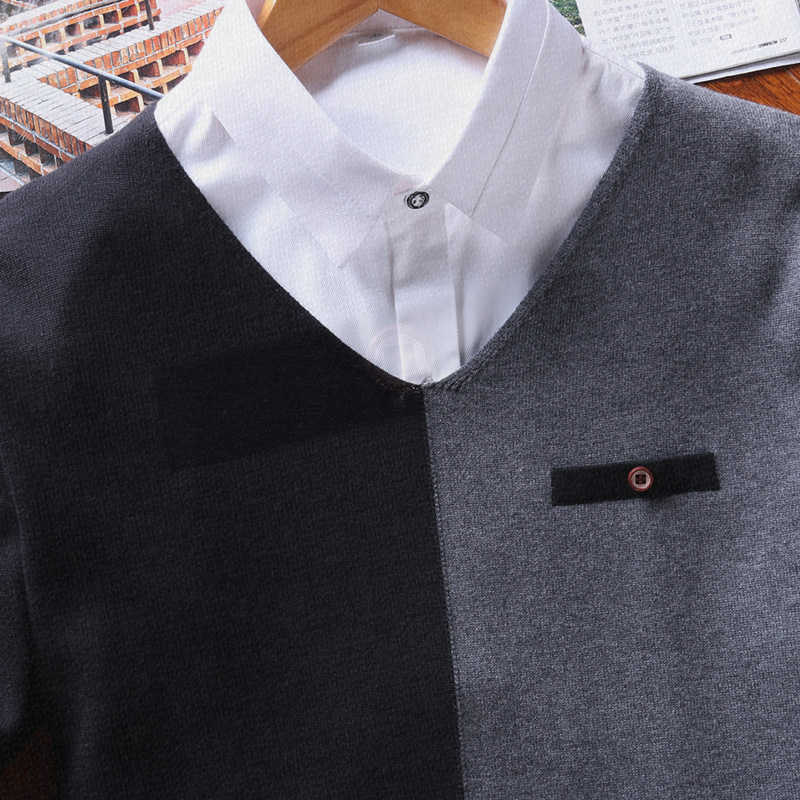 プルオーバーメンズセーター 2019 男性 V ネックパッチワークカジュアル服長袖秋のセーター綿 100% のメンズセーター M-3XL