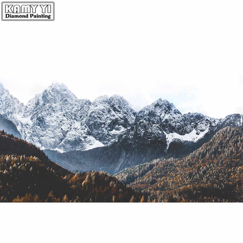 Фото 3D Diy Полная Алмазная картина кончик Снежная гора Вышивка крестиком квадратная и